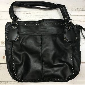 B Makowsky Large Black Leather Studded Tote Bag